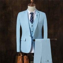 Male Suits Jackets+ Men Pants + Suit Vest 2017 New Fashion Business Popular Wedding Banquet Best Coat Blazer Mens Hot Size S-3XL
