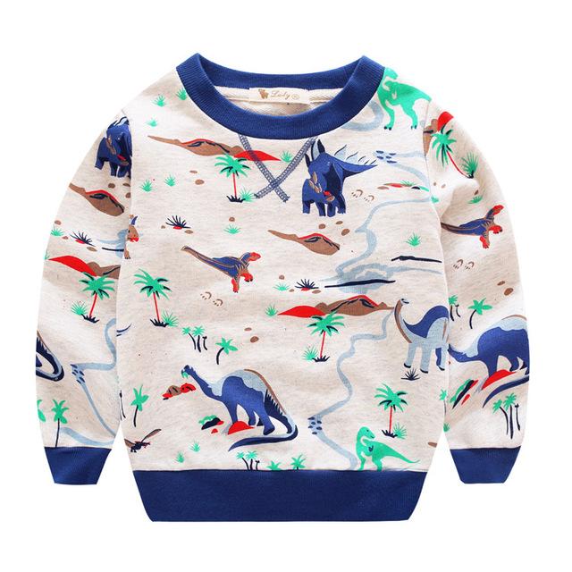 Crianças outono hoodies Meninos da menina do algodão da camisola de Impressão dos desenhos animados monstro dinossauros do bebê do Jardim Zoológico miúdo roupas pullovers bobo choses