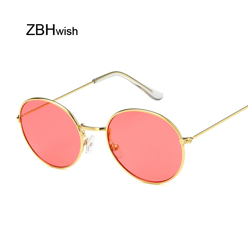 Vintage Round Sunglasses Women Ocean Color Lens Mirror Sun Glasses Female Brand Design Metal Frame Circle Glasses Oculos UV400