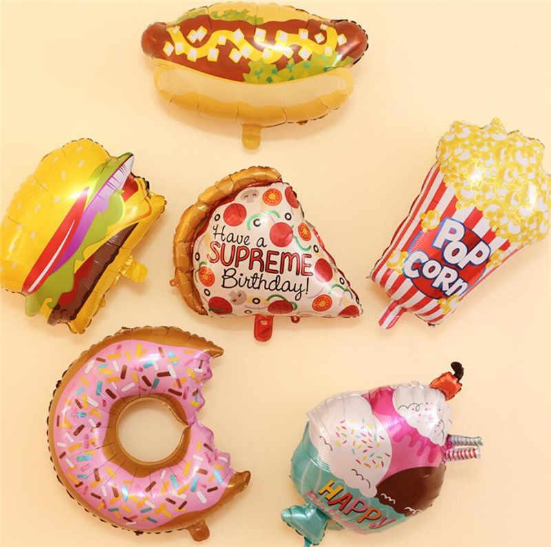 New big ฮัมบูร์ก ice cream Popcorn เค้ก donut พิซซ่าอาหารวันเกิดบอลลูนปาร์ตี้ตกแต่งการ์ตูนหมวก