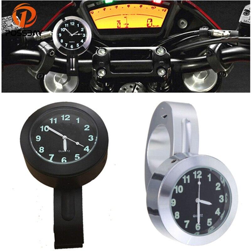 POSSBAY 7/8 1 мотоцикл руль черный циферблат часы для Honda Shadow Cruiser для Ducati Piaggio Апулия Водонепроницаемый часы