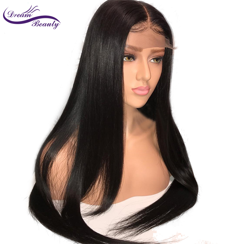 Dream Beauty  Brazilian Straight 4x4 Silk Base Wigs With Baby Hair 130% Full Lace Remy Human Hair Wigs With Pre-Plucked Hairline