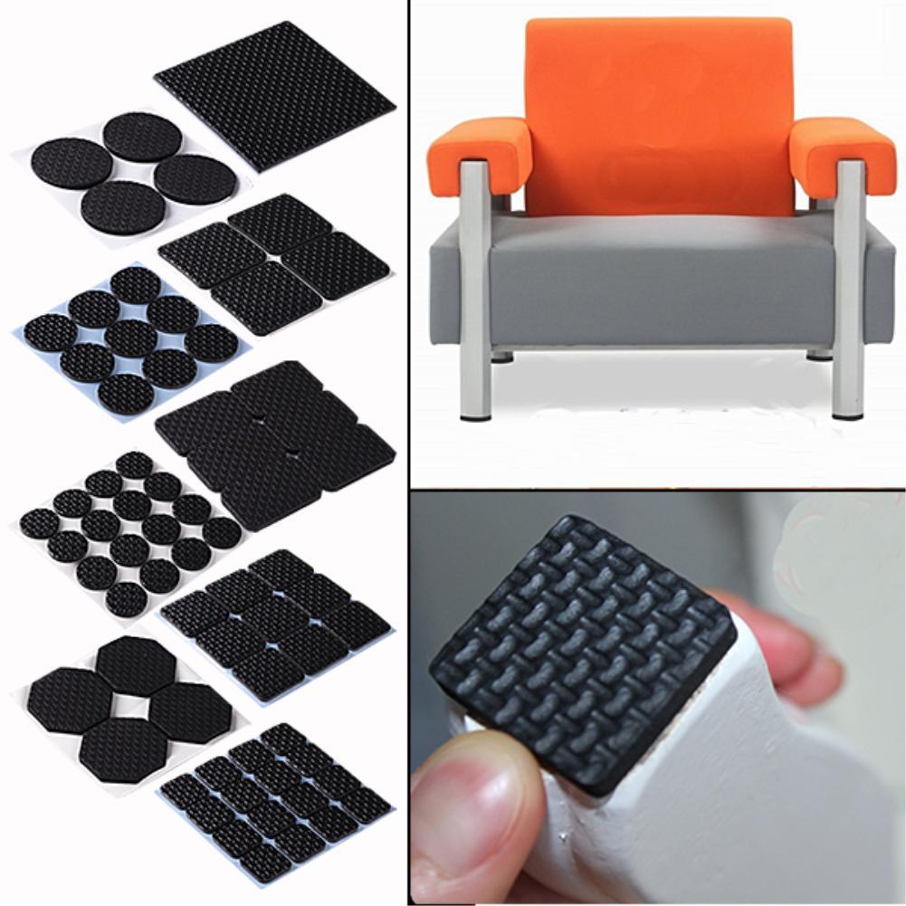 4 / 6 / 9 / 16PCS Soft Thickening Bumper Chair Fittings Self-adhesive Floor Protector Anti-slip Mat Anti Rub Furniture Leg Pads