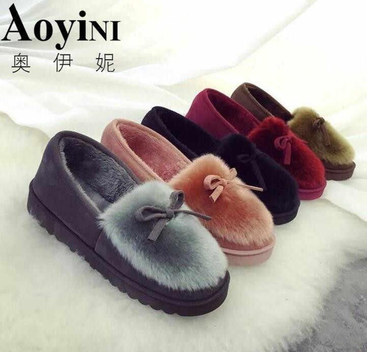 1213bb28328 New 2018 women snow boots thick plush winter warm shoes fashion slip on flat  waterproof women