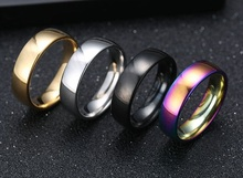 цена на Punk 6mm Simple Rings For Men Women Couple Stainless Steel Titanium Black Glaze Size 7-11 Party Male Jewelry Wholesale 2019