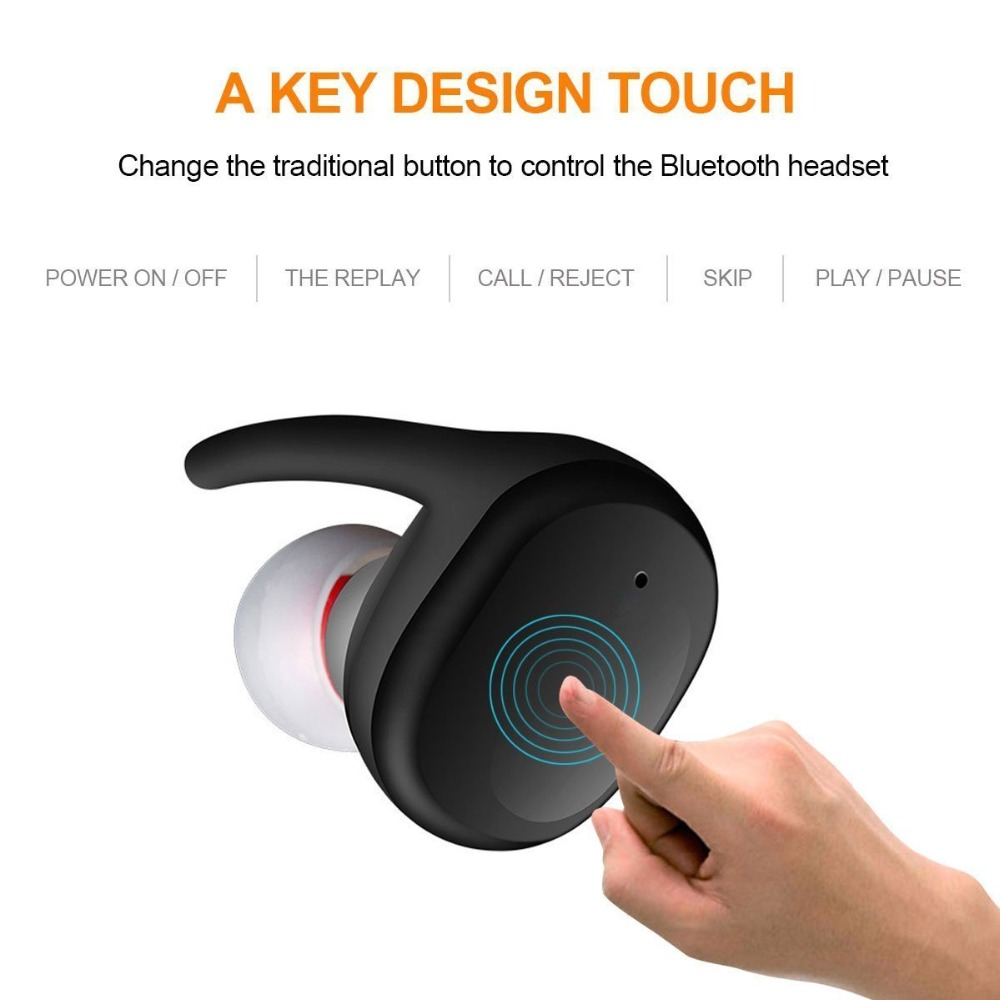 Bluetooth Touch Control Hifi Earphone with Mic, GDLYL TWS True Wireless Earbuds Stereo Microphone for Phone With Charger Box