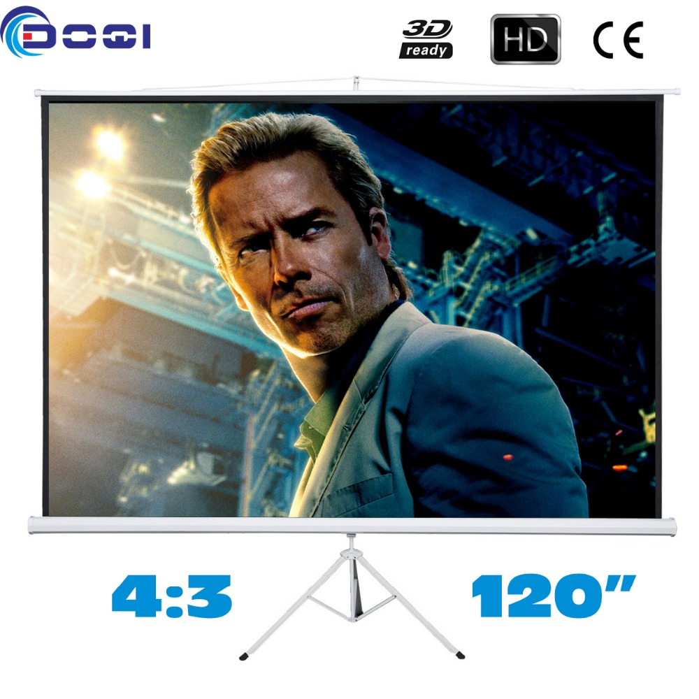 Portable 120 inches 4:3 Tripod Projection Screen Floor stand Bracket Projector Screen Matt White HD Factory sales fast free shipping 100 4 3 tripod portable projection screen hd floor stand bracket projector screen matt white factory supply
