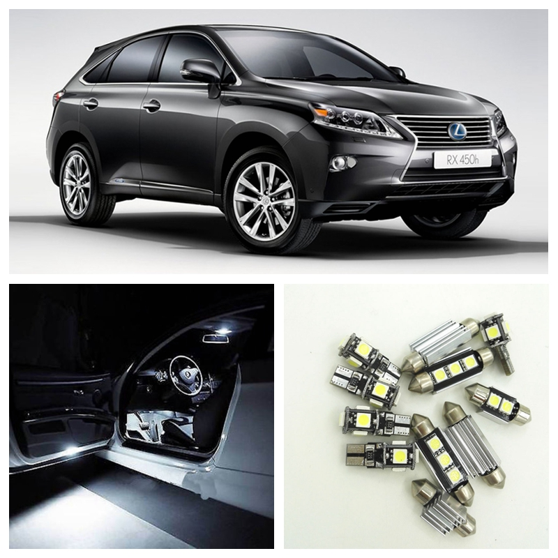 14pcs White Canbus Car LED Light Bulbs Interior Package Kit For 2010-2013 Lexus RX350/RX450h Map Dome Step Courtesy Lights 13pcs super white crystal blue pink led lights lamp interior dome door step courtesy vanity package kit for pilot 2006 2008 14