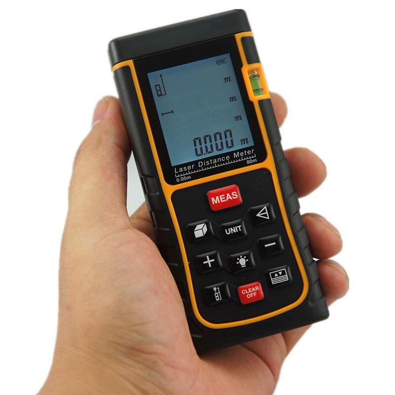 SW-E80 Free Shipping Tape Measure Laser Range Finder 80M LCD Display Laser Distance Meter Digital RangeSW-E80 Free Shipping Tape Measure Laser Range Finder 80M LCD Display Laser Distance Meter Digital Range