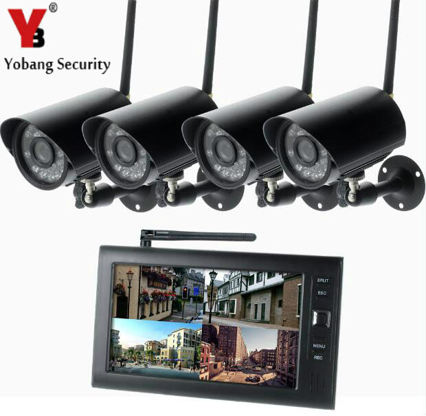 YobangSecurity 7 Inch TFT Digital 2.4G Wireless Cameras Audio Video Recorder 4CH DVR Security System with IR Night Vision Camera