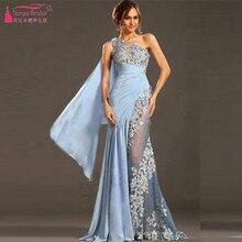 Vestido de festa curto Sky Blue Prom Dresses Lange Mermaid eine Schulter Afrikanische Abendkleider Spitze Elegante Party Kleider Z404