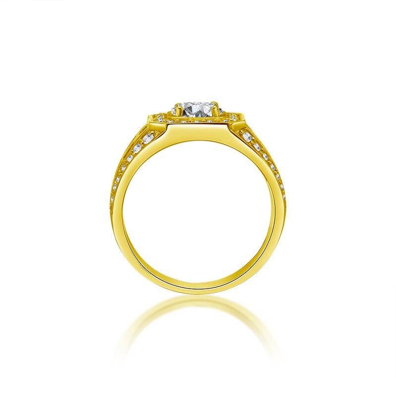 AINUOSHI 14 K Solid Geel Goud Mannen Ring Rijen Boor Vierkante Halo Ring Engagement Wedding Mannelijke Sieraden Vintage Wide Wedding band-in Ringen van Sieraden & accessoires op  Groep 2