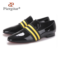 2017 Brand PIERGITAR Handmade Men Patent leather Shoes Lace Up Wear Comfortable Men Dress Wedding Shoes Prom Men's Loafers