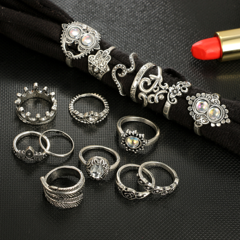 Tocona Antique Silver Color Geometric Ring Set Hasma Hand Flower Hoollow Out Heart Rings Carving Leaf Knuckle for Women 4020 2