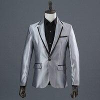 Новые модные серебряные мужские костюмы блейзеры брендовая мужская одежда молодой и живой костюм Мужская одежда для выступлений певец и ве