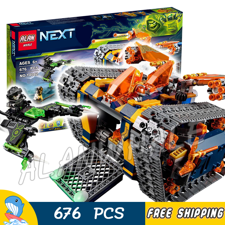 676pcs Knights Nexo Knights Axl's Rolling Arsenal Destroyer 14042 Model Building Blocks Toys Bricks Nexus Compatible With lego knights of sidonia volume 6