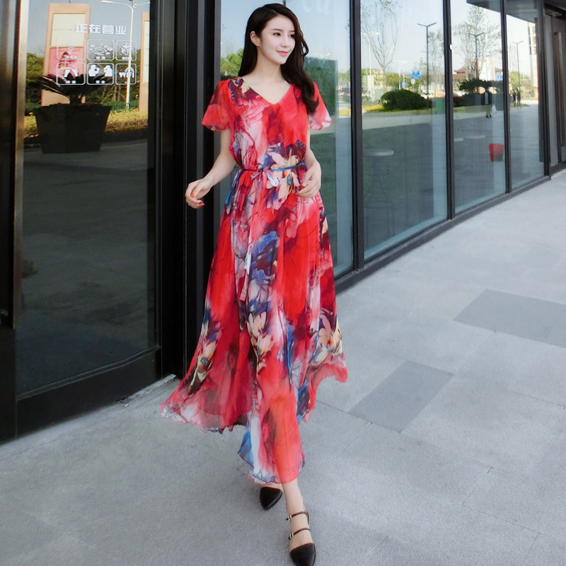 red floral chiffon beach full dress shortsleeve womenu0027s summer loose plus size lightweight