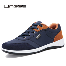 LINGGE 2019 Autumn New Men Shoes Lace-Up Fashion Microfiber Leather Casual Brand Sneakers Winter Flats