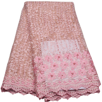 Wholesale Nigeria Beaded Lace Fabric High Quality Afircan French Lace Fabric Pink Tulle Fabric For Wedding