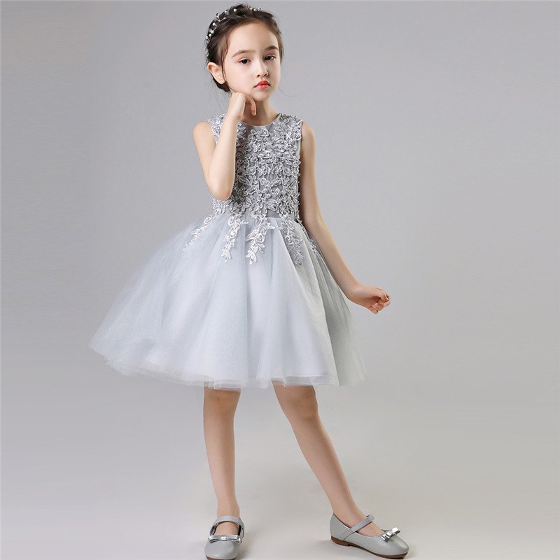 ca8ab53c1f805 2019 New Baby Kids Gray Color Birthday Evening Party Princess Lace Ball  Gown Dress Toddler Girls Elegant Tutu Pageant Dress