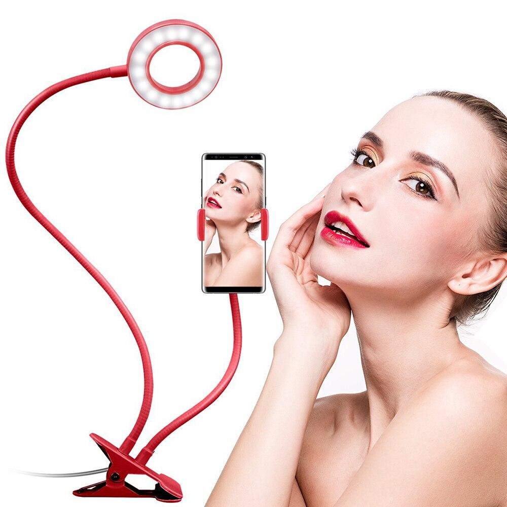 Colto Pigro Lunghe Braccia Controllabile Selfie Anello Di Luce Con Morsetto Supporto Per Telefono Cellulare Per Streaming In Diretta Video Chat Flessibile
