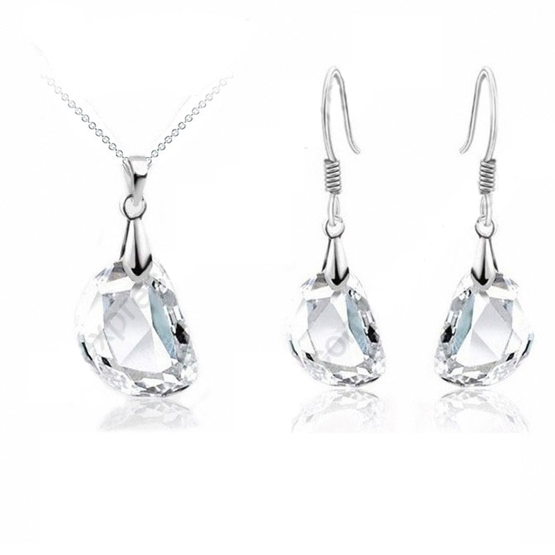 Hot Sale Jewely Sets White Crystal Wedding Engagement 925 Sterling Silver Earrings Pendant Necklace Women Birthday Gifts