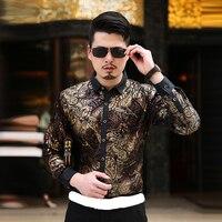 2016 New Arrival Luxury Quality Velvet Men Long Sleeve Autumn Winter Shirt Plus Size M 4XL