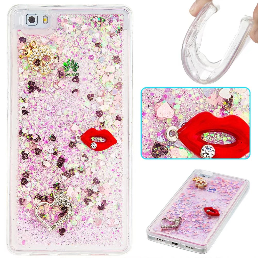 For Huawei P8 P9 LITE Case Luxury Red Lip Owl Lotus Angel Flower Sparking Brilliant Quicksand