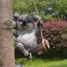 Creative Resin Swing Koala Bear Figurine Crafts Garden Decoration Cute Artifical Animal Home Decoration Ornaments Sculpture