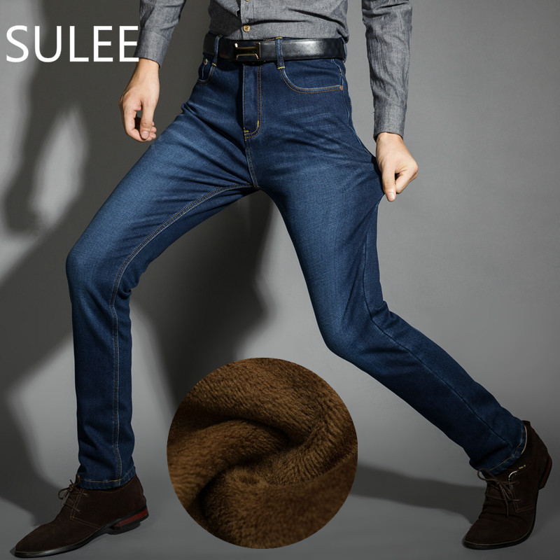 SULEE Brand Mens Winter Fleece Jeans Flannel Lined Stretch Denim Jeans Slim Fit Trousers Pants 33 34 35 36 38 40 42 Men's Jeans sulee brand autumn winter mens heavyweight stretch denim jeans casual fit loose relax trousers pants plus size 42 44