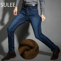 SULEE Brand Mens Winter Fleece Jeans Flannel Lined Stretch Denim Jeans Slim Fit Trousers Pants 33