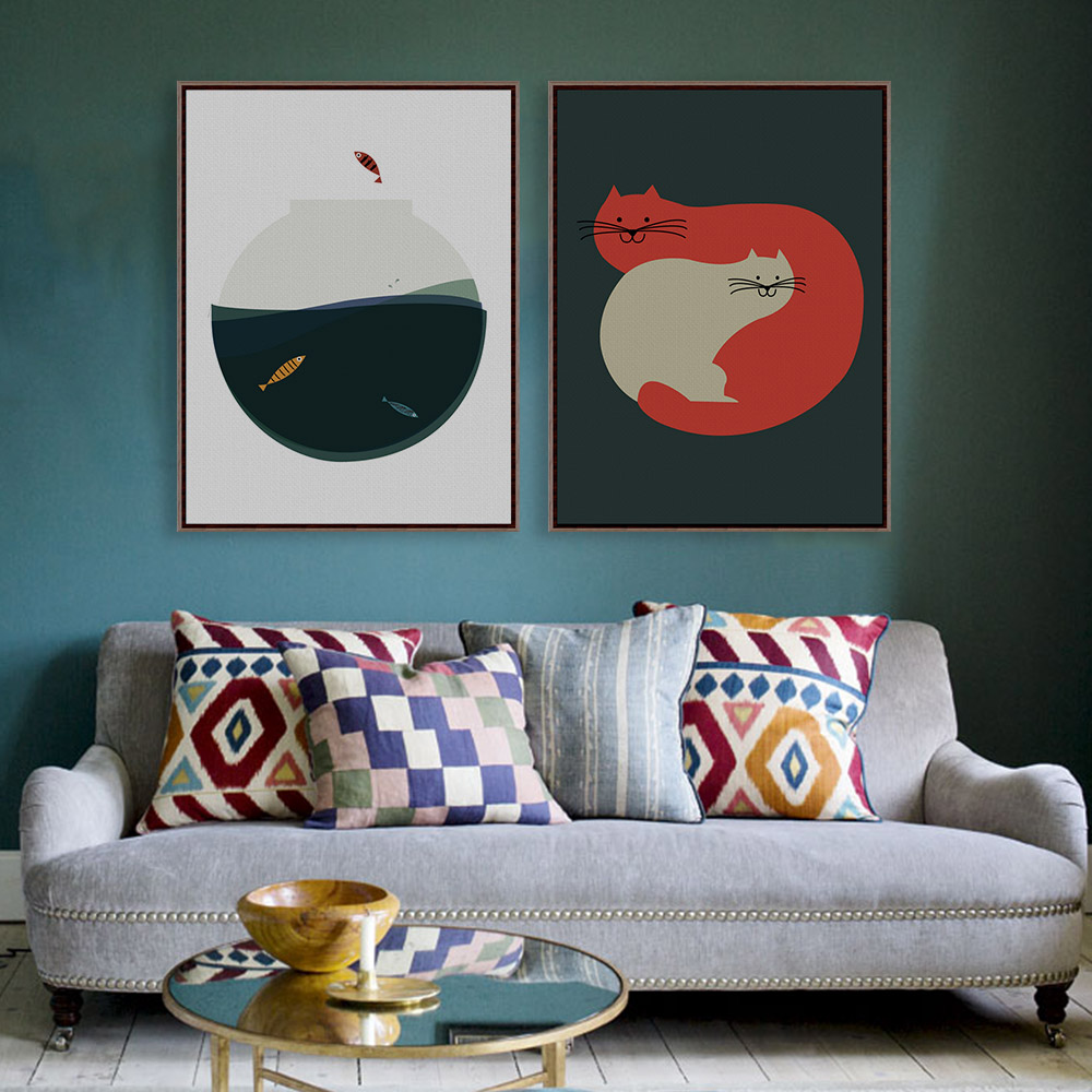 Vintage Retro Minimalist Kawaii Animals Cat Fish Art Print Poster Wall Picture Living Room Canvas Painting