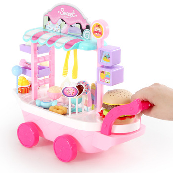 Pretend MINI Play Kitchen Toys For Children Mini Ice cream Candy Cart House Car Rotatable Toy For Girl 2-10 years old