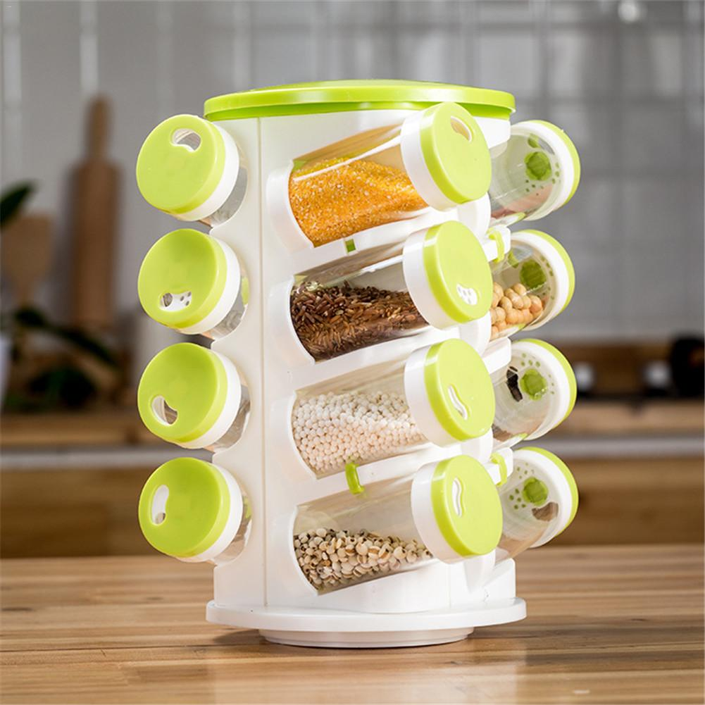 Especieros De Cocina 16pcs Creative Seasoning Box Rotating Multiple Positions Seasoning Bottle Holder High Quality Especieros De Cocina