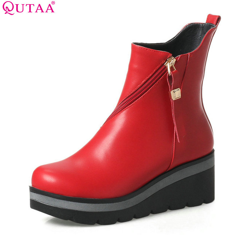 QUTAA 2018 Women Ankle Boots Pointed Toe Zipper Microfiber Leather Wedges High Heel Women Motorcycle Ankle Boots Size 34-39