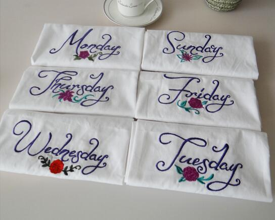 US $12 55 |Monday to Sunday week series of small fresh style home cotton  cloth napkins embroidery mats(7pc)-in Table Napkins from Home & Garden on
