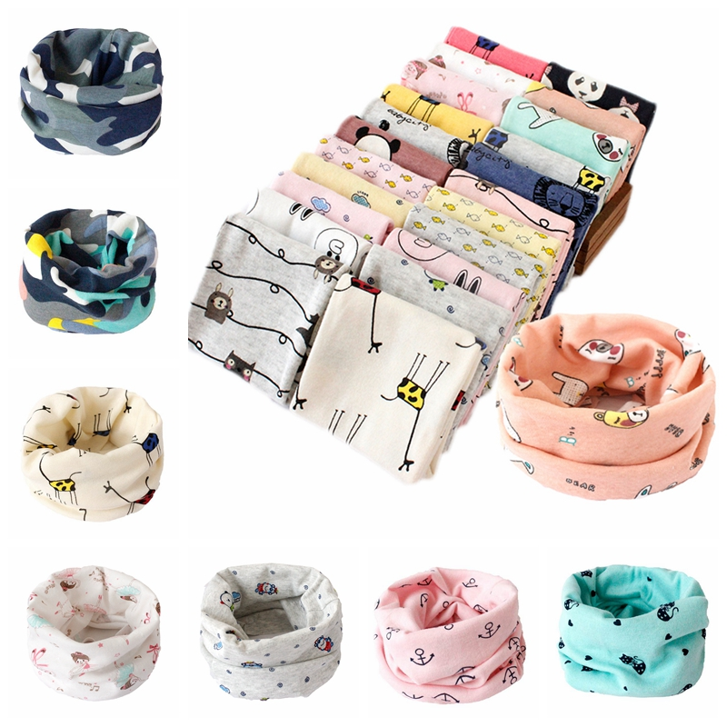 Cotton Baby Scarf Autumn Winter Lovely Cartoon Baby Bibs Kids O Ring Collar Neck Scarf Boys Girls Head Wear Cap Scarves