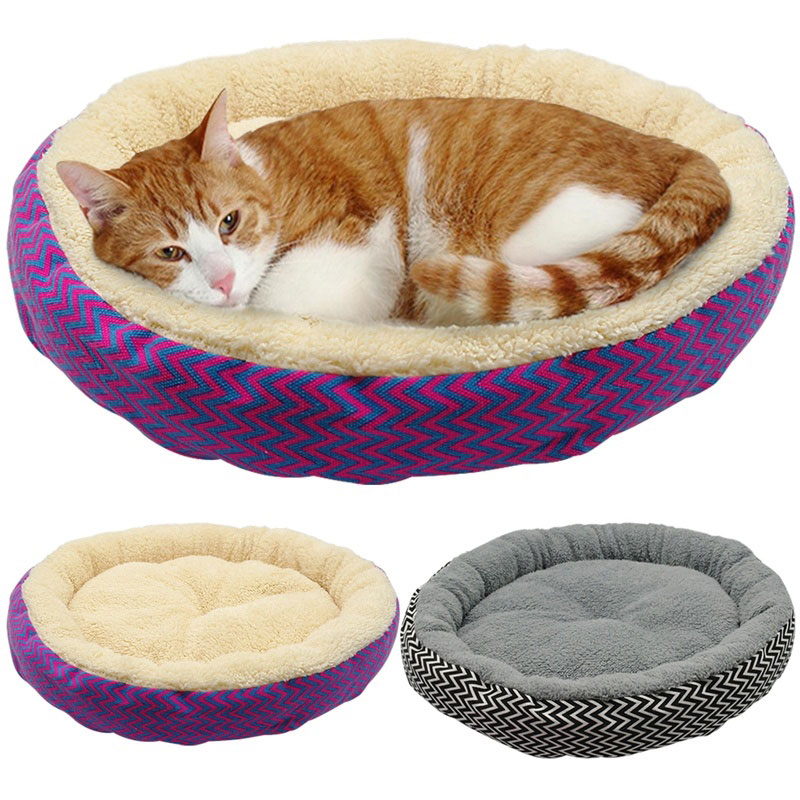 Warm Cat Bed House Round Bed Fodable Dog Sleeping Mat Pad Nest Kennel Pet Cushion Puppy Nest Shell Hiding Burger Bun For Winter #1