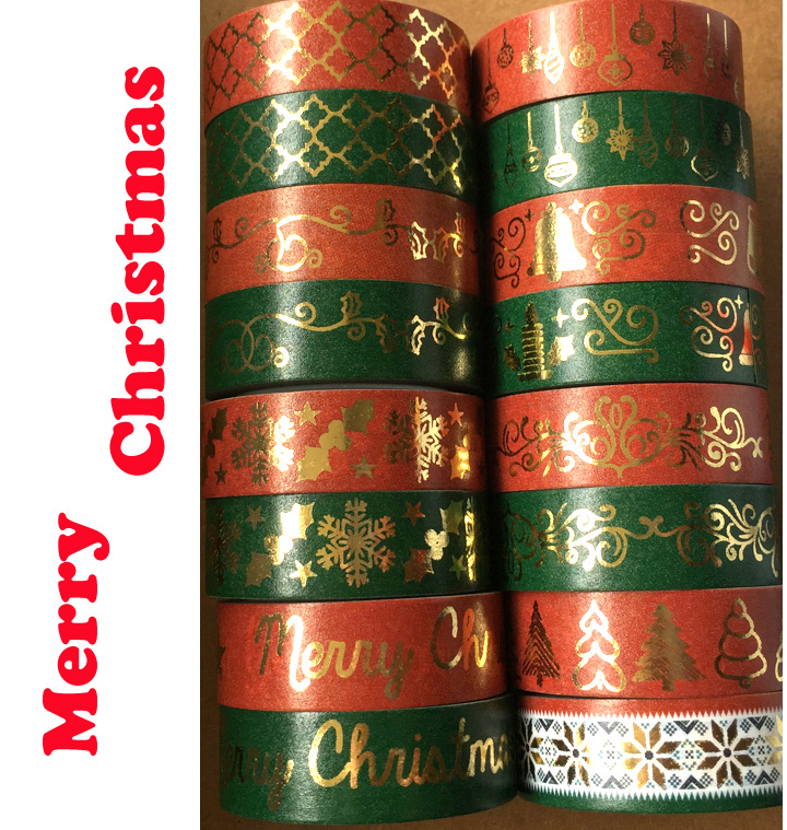 Free Shipping Golden Foil Washi Paper  Tape/Red And Green  Varied Merry Christmas Design Washi  Tape/15mm*10m