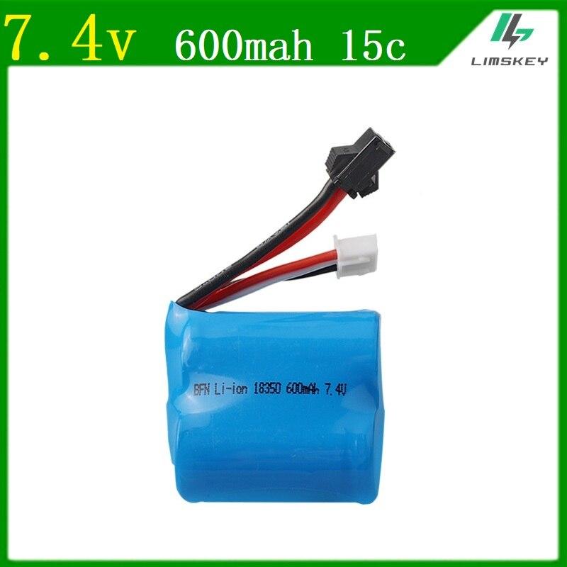 Limskey 7.4v(3.7v * 2) 600mAh 15C Li-ion battery for TK H100 H102 High speed RC boat 18350 7.4 v 3P battery free shipping 1pcs