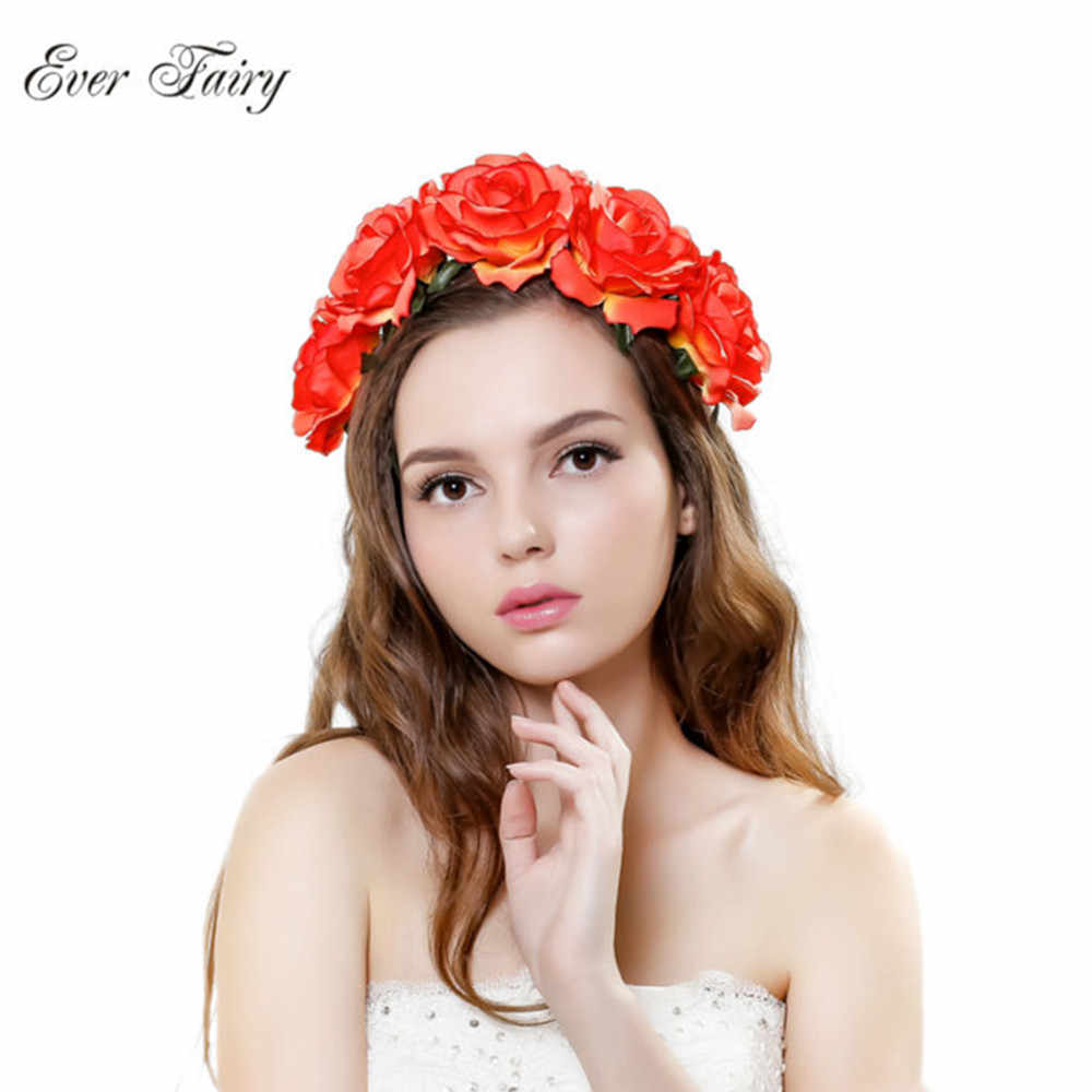 Rose flower headband flower crown for bridesmaid garland floral crown  handmade bride flower crown rose headband d9745cdd5e8