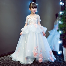 2017baby girls elegant flowers princess dresses children kids long tail evening ball gown birthday party wedding