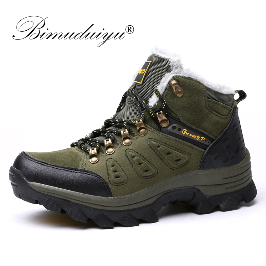BIMUDUIYU Men Winter Boots Lace-Up Warm Sneakers Plush Snow Boots Casual Ankle Boots Non-slip Winter Sneakers Men Cotton Shoes