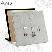New Arrival Three Options Model Black Grey Suede Natural Jute Earrings Display Earring Holder Storage With