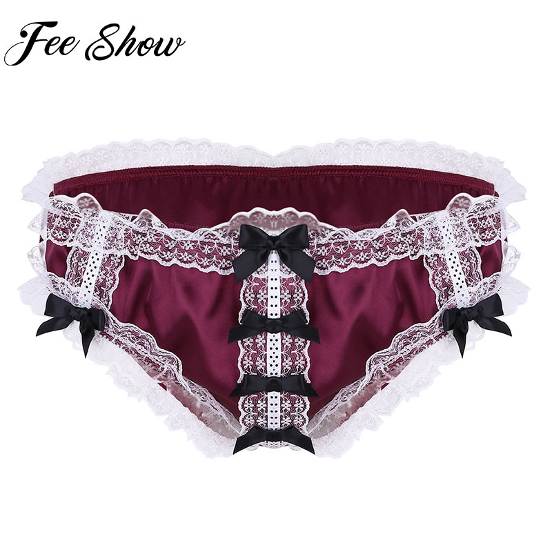 Feeshow Sexy Men Soft Shiny Ruffled Floral Lace Satin Lingerie Low Rise Stretchy Bikini Briefs Male Sissy Underwear Underpants