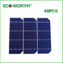 40pcs 6×2 Mono Solar Cell A Grade 156mm Monocrystalline Photovoltaic Solar Cell DIY 12V Solar Panel for Phone Charger