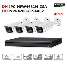 DH видеонаблюдения Системы 6MP увеличительная IP камера IPC-HFW4631H-ZSA и 8POE 4 K NVR NVR4208-8P-4KS2 наблюдения P2P безопасности Системы