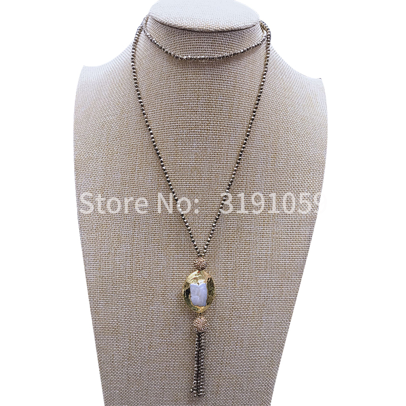 New vintage black cholestone pearl necklace collarbone chain value above European and American foreign trade jewelry image