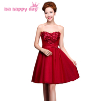 sweet 16 short tulle bridesmaid bandage dress brides maid cheap burgundy elegant party dresses for women for wedding H3125