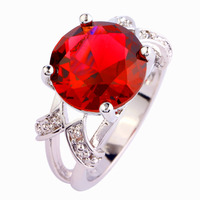Wholesale Charming Lady Round Cut Pink Tourmaline & White Sapphire 925 Silver Ring Size  6 7 8 9 10 11 12 13 PRECIOUS JEWELRY